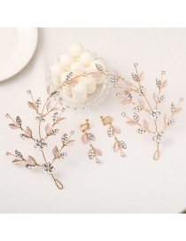 Fashion Gold Color Leaf Crystal Beaded Ear Clip Hairband