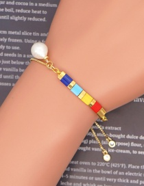 Fashion Color Mixing Stainless Steel Rice Beads Beaded Pearl Bracelet