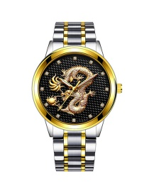 Fashion Gold With Black Face Embossed Dragon Non-mechanical Steel Band Quartz Mens Watch