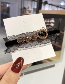 Fashion Black Digital Alloy Hair Clip With Lace And Diamond Dripping Clothes