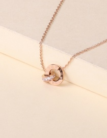 Fashion Rose Gold Ring Diamond Roman Numeral Necklace