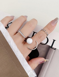 Fashion Silver Color Pearl Geometric Chain Alloy Ring Set