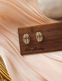 Fashion Gold Color Arc Inlaid Zircon Hollow Earrings