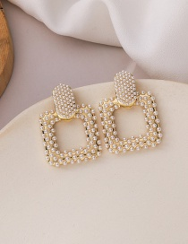Fashion Gold Color Geometric Alloy Earrings With Pearls