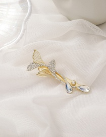 Fashion Gold Color Double Fishtail Winding Diamond Alloy Hairpin