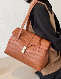 Fashion Brown Large Capacity One-shoulder Messenger Bag With Stone Pattern Lock