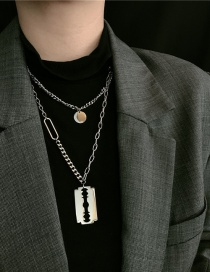 Fashion Silver Color Yuan Brand Blade Pendant Double Stainless Steel Necklace