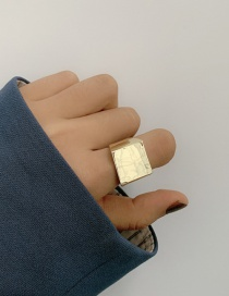 Fashion Gold Color Wide Metal Glossy Geometric Square Ring