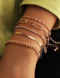 Fashion Gold Color Thick Chain Snake Bone Chain Alloy Multilayer Bracelet