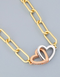 Fashion Color Mixing Thick Chain Diamond Love Contrast Necklace