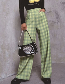 Fashion Green Grid Check Loose Wide-leg Trousers
