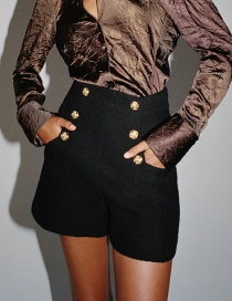 Fashion Black Double Breasted High Waist Solid Color Shorts