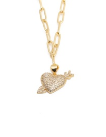 Fashion Pierce Your Heart Micro-inlaid Zircon One Arrow Through The Heart Necklace