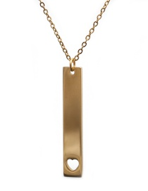 Fashion Gold Color Stainless Steel Long Love Heart Pendant Necklace