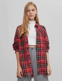 Fashion Red Woolen Check Shirt Jacket