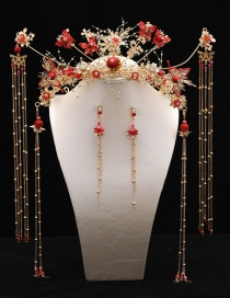 Fashion Red Fringed Butterfly Diamond Pearl Alloy Phoenix Crown