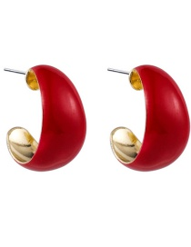 Fashion Red Dripping Glaze Curved Alloy Geometric Earrings
