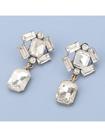 Fashion White Alloy Inlaid Glass Diamond Geometric Earrings