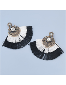 Fashion White Alloy Inlaid Glass Diamond Fan-shaped Tassel Earrings