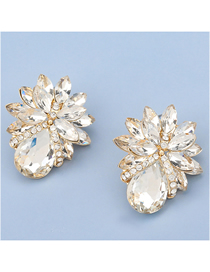Fashion White Alloy Inlaid Glass Diamond Flower Earrings