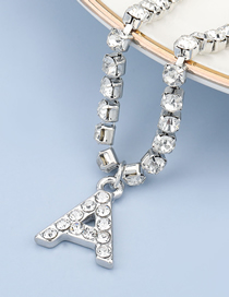 Fashion A Silver Color Acrylic And Diamond Alphabet Alloy Pendant Necklace