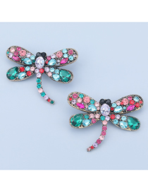Fashion Color Alloy Diamond Dragonfly Earrings