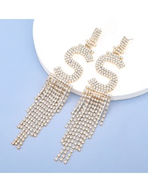 Fashion Gold Color Alloy Diamond Letter Tassel Earrings