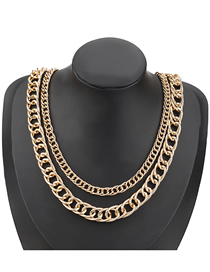 Fashion Gold Color Alloy Thick Chain Hollow Multilayer Necklace