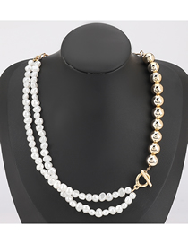 Fashion Gold Color White Imitation Pearl Gold Bead Stitching Alloy Necklace