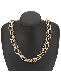 Fashion Gold Color Alloy Thick Chain Multilayer Necklace