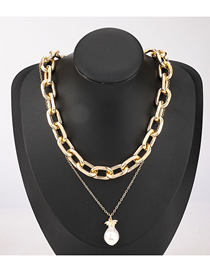 Fashion Gold Color Imitation Pearl Pendant Geometric Thick Chain Alloy Multilayer Necklace