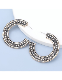 Fashion Gold Color Alloy Diamond Acrylic C Shape Earrings