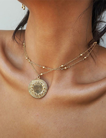 Fashion Gold Color Round Gold Bead Chain Alloy Multilayer Necklace