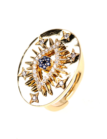 Fashion Gold Color Micro-set Zircon Eyes Round Open Ring