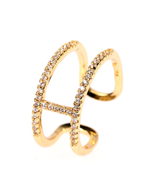 Fashion Gold Color I-shaped Diamond Open Ring