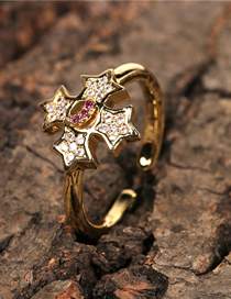 Fashion Gold Color Five-pointed Star Inlaid Zircon Open Ring