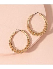 Fashion Golden Hollow Chain Alloy Round Earrings