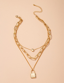 Fashion Golden Lock-shaped Alloy Thick Chain Alloy Hollow Necklace