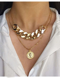 Fashion Golden Alloy Head Coin Pendant Multilayer Necklace