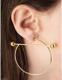 Fashion Golden C-shaped Alloy Round Hollow Earrings