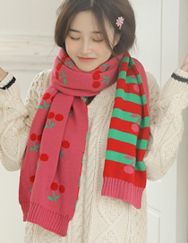 Fashion Pink Cherry Contrast Knitted Scarf Bib