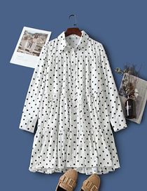 Fashion White Dots Polka Dot Print Loose Lapel Dress