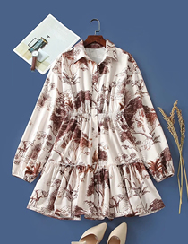 Fashion Printing Printed Long Sleeve Loose Stitching Dress