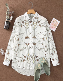 Fashion White Long Sleeve Printed Lapel Shirt