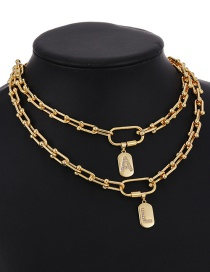 Fashion A 26 Letters Necklace With Copper Inlaid Zircon Thick Chain