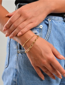 Fashion Golden Hollow Multi-layer Bracelet With Thick Chain With Beating Pattern