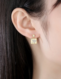 Fashion 18k Copper Inlaid Zircon Geometric Earrings