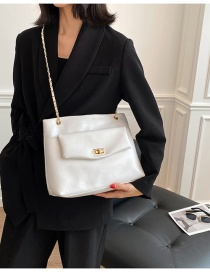 Fashion White Chain Lock Crossbody Shoulder Bag