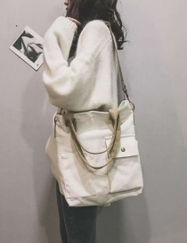 Fashion White Canvas Wideband Stitching Contrast Color Shoulder Messenger Bag