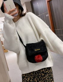 Fashion Black Plush Letter Embroidery One-shoulder Messenger Bag
